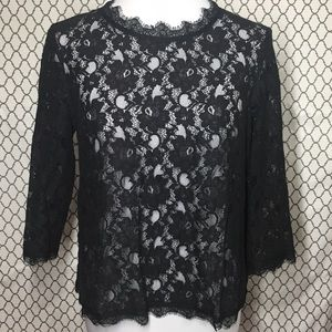 Talbots lace lacy sheer top blouse holiday dressy